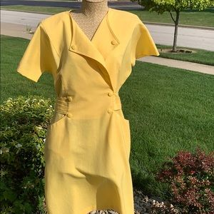 Vintage 70's Yellow  double breast dress